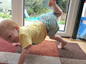 "Joseph doing a his ""gymnastics"""