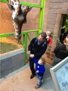 Joseph Feeding a Giraffe