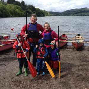 Ed, Nanna and boys going canoeing